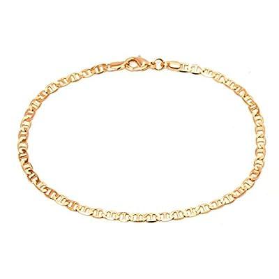 Barzel 18K Gold Plated Flat Marina Link Anklet