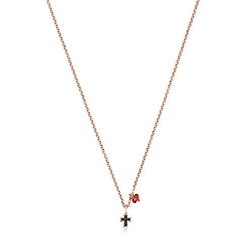 TOUS Collar Motif Cruz de Plata Vermeil Rosa con Espinelas y Rubí