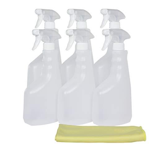 Super Net Cali Botella pulverizador vaporizador de plástico. 750 ml. Rellenable para jardín, Limpieza, Industria, hogar y Profesional. Resistente Productos químicos. (6 Unidades+Bayeta, Traslúcido)