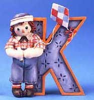 Raggedy Ann and Andy - K Is For Kite Decorative Letter -  Enesco, 856789K