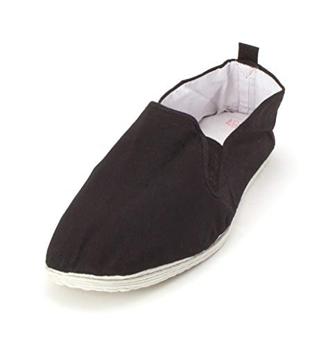 Ace Martial Arts Supply Kung Fu Closed Toe Slip On Shoes -Cotton Sole, and Yellow Bubble Gum Sole (Cotton Sole, 41 M EU)