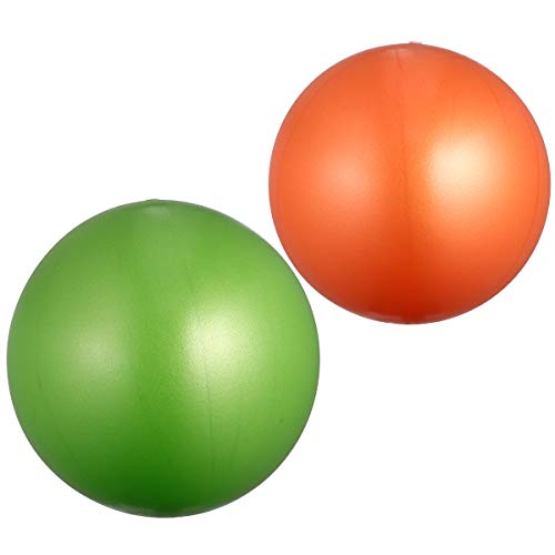 ABOOFAN 2 bolas de yoga esmeriladas engrosadas antiexplosiones de fitness, mini bola de equilibrio para ejercicio de gimnasia y gimnasio (15-35 cm, tamaño aleatorio naranja+verde)