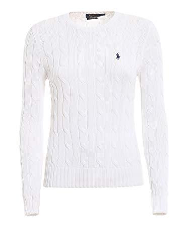 Polo Ralph Lauren Julianna LS Swt Cotton Classic CBLE Polo, Bianco (White B1e05), 40 Donna
