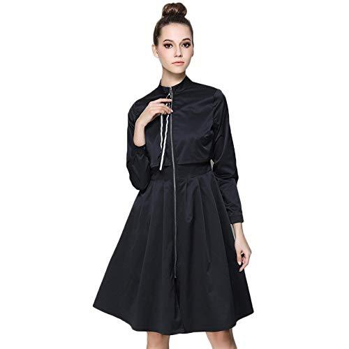 QUNLIANYI Ballkleid Lang Damen Tüll Fake Two Pieces Splice Zipper Cardigan Kleider Frauen Casual Elegant Long Sleeve Loose Trench XL Schwarz
