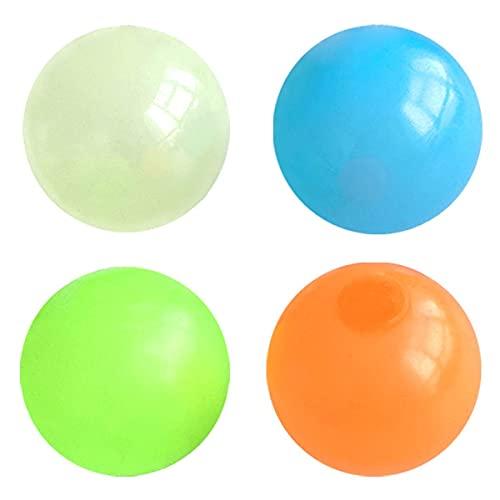 Greatangle-UK 4 Pezzi Palline appiccicose da soffitto Glow Squishy Stress Balls Gobbles Palline appiccicose Palline Antistress Glowing Fidget Toys 4 Colori 4,5 cm