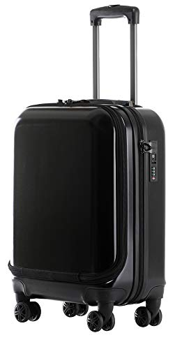 MÜNICASE -Handgepäck TSA Schloß Businesstrolley Koffer Trolley Rollkoffer (SCHWARZ)