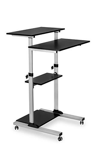 Mount-It! Mobile Standing Desk/Height Adjustable Stand Up Computer Work Station   Rolling Presentation Cart with 27.5 Inch Wide Platform, Locking Wheels