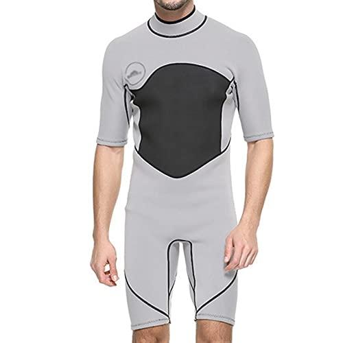 Traje De Neopreno De 2 Mm para Hombre, Traje De Baño De Manga Corta para Surf Snorkel (Color : Gray, Size : M)