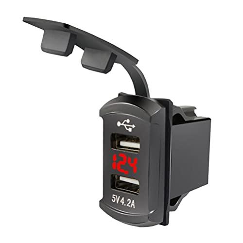 BST-MAI Cargador de coche, impermeable en forma de barco, cargador de teléfono móvil de doble puerto USB, salida de alimentación impermeable, con pantalla de voltaje Cargador de coche portátil (rojo)