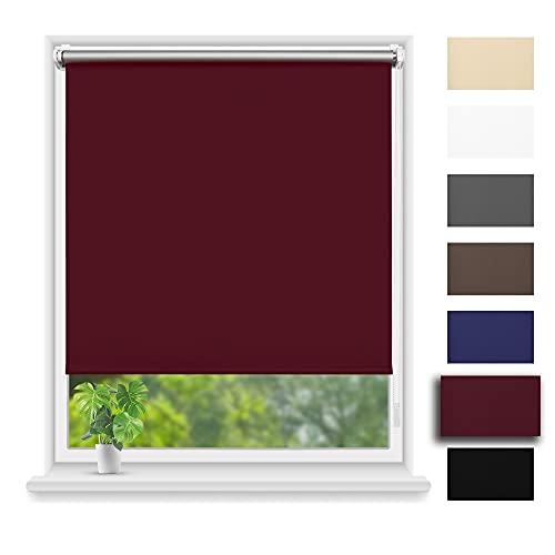 Eurohome Estor térmico opaco 90 x 210 cm (ancho de la tela 86 cm), color terracota Klemmfix sin agujeros para ventanas y puertas