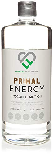 Love Life Supplements - Primal Energy MCT Öl, Ketone und Bulletproof Coffee, 100% aus Kokosnüssen, 1l