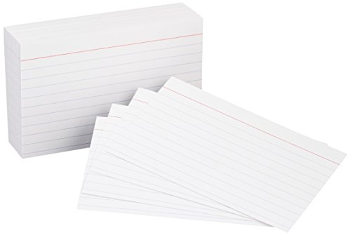 AmazonBasics Heavy Weight Ruled Lined Index Cards, White, 3x5 Inch Card, 100-Count