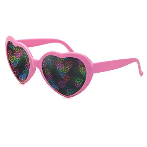 Herz Effekt Beugungs Brille - Siehe Herzen, Musikfestival Party Fektbrille Geeignet für EDM Fasching Karneval slichter Bar Feuerwerk Effekt (Rosa)