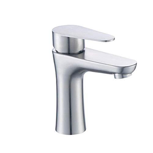 Grifo de baño para fregadero de baño con abertura para lavabo o lavabo, grifo de agua fría a caliente, mezclador de estanque 304 de acero inoxidable con orificio único para estanque de agua caliente y fría