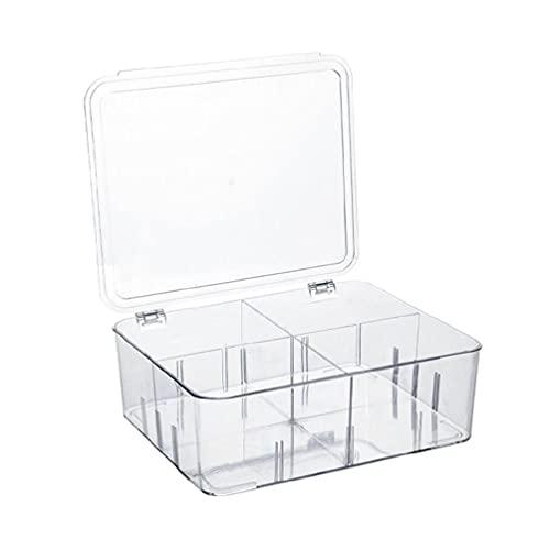 SHINAN Caja de almacenamiento de alimentos para refrigerador, 4 cubos de plástico divididos con tapa, contenedor apilable para frutas y verduras organizador de cocina