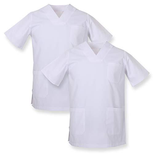 MISEMIYA - Pack*2 - Casaca Sanitarios Unisex Uniformes Sanitarios Cuello Pico Mangas Cortas Uniformes Laboratorios - Ref.817 * 2 - XS, Blanco