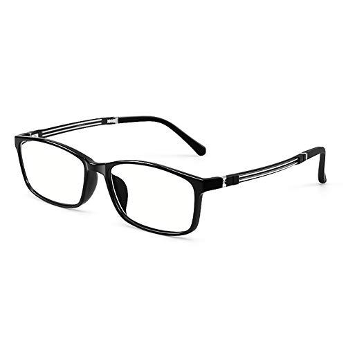 HQMGLASSES Gafas de Lectura ultraligeras TR90 Anti-Azul/Anti-radiación para computadora, Lente de Resina de Alta definición Lectura para Hombres dioptría +1.0 a +3.0,Negro,+1.0