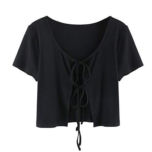 Zaful T-Shirt mit Rundhalsausschnitt aus Baumwolle für Damen, kurzes Basic-Oberteil mit Knoten und Elefanten-Aufdruck, B-1 schwarz, M