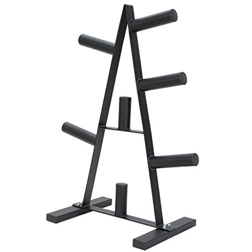 Olympic Weight Plate Rack, Three Weight Plate Tree 2 inch for Bumper Plates Free Weight Stand Metal Steel Home Workout Dumbbell Rack Storage Stand for Home/Gym (Black)