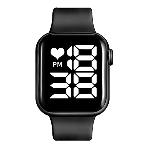 Titox LED Square Dial Touch Screen Digital Watch for Boys and Girls ( White Light , Black )