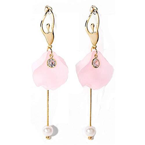 Bling Toman Long Earrings Pink Earrings Cute Drop Earrings Dance Ballet Girl Earrings with Silver Pin (2-Pink)