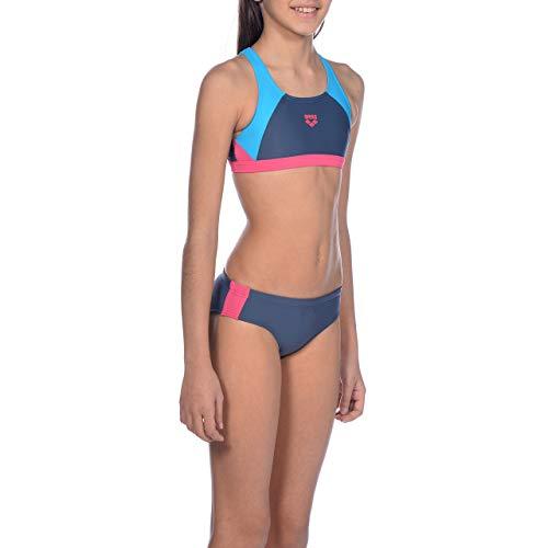 ARENA Mädchen Sport Bikini Ren, Shark-Turquoise-Freak Rose, 128