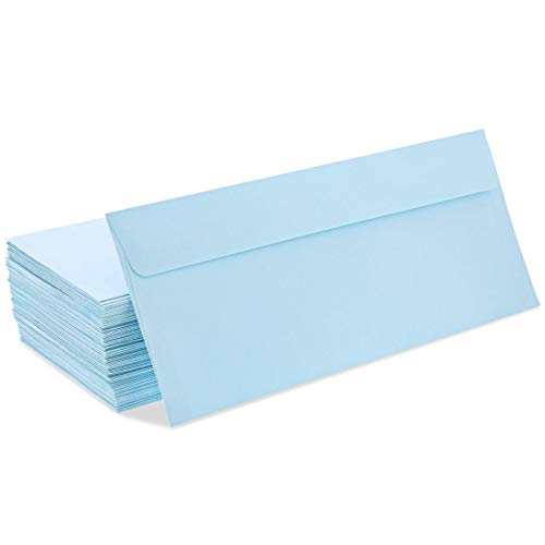 Juvale 100 Pack #10 Light Blue Square Flap Business Envelopes - 4 1/8 x 9 1/2 Inches