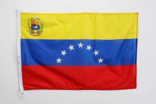AZ FLAG Bandera de Venezuela Antigua con Escudo 90x60cm Uso Exterior - Bandera VENEZUELANA con Armas 60 x 90 cm Anillos