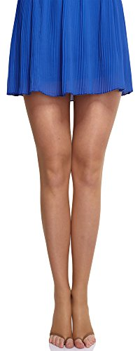 Merry Style Damen transparent zehenlose Strumpfhose Lycra MS 336 10 DEN (Beige, L (40-44))