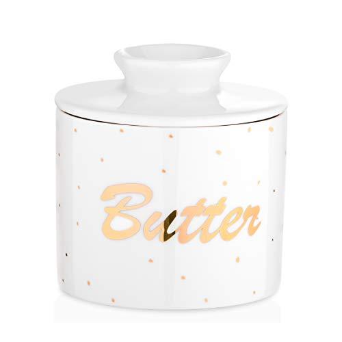 LOVECASA Butterdose Porzellan, runder Butterbehälter, Französische Butterdose-frische und weiche Butter, 9,4 x 9,4 x H 10,8 cm