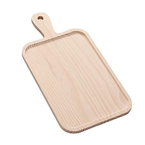 Joliy Plato de Madera para Hornear Pan y Pizza Plato para Servir Pan Plato para Sushi con Mango Accesorios para fotografía de Alimentos para Pasteles - Madera 46 * 24 * 1,6 cm
