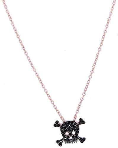 ZPPYMXGZ Co.,ltd Collar de Moda Collar de Color Oro Rosa con circonita Negra Diseño Personalizado Collar de Calavera Fresca Punk Hip-Hop para niñas y Mujeres Collar