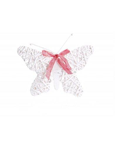 Home Line Mariposa de Mimbre para decoración - Color Blanco