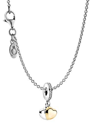 Pandora Damen-Kette Doppelherz Silber eleganter Halsschmuck, wunderschönes Geschenk-Set für modische Frauen, 39659