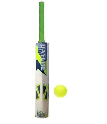 NR Enterprises Wooden Cricket Bat Size 4 with 1 Ball for 4-8 Year Kids Note Bat Sticker May Vary (Brown)