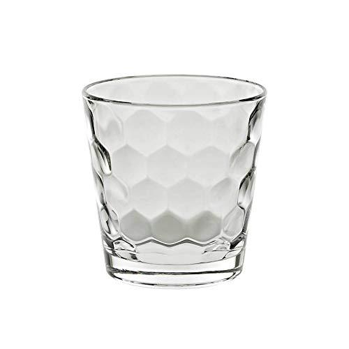 CRISTALICA Trinkglas Honey Becher Saft Wasser Softdrink Alltagsglas Wabenmuster 370ml klar
