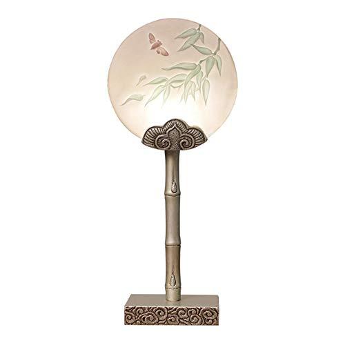Sala de estar Dormitorio Lámpara de mesa Lámpara de mesa antigua Tallado en resina Patrón tradicional chino Lámpara de mesita de noche hecha a mano para sala de estar Dormitorio familiar Lámparas de m