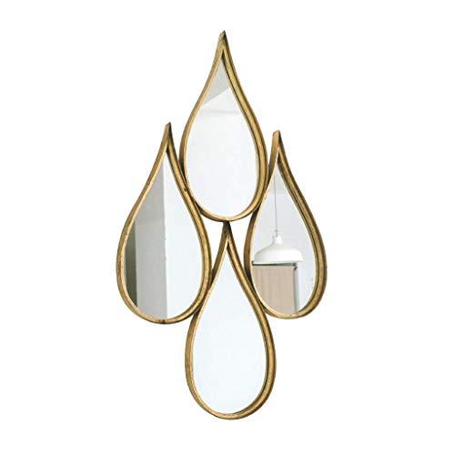 LUISONG Espejo de baño de FANMENGY, redondo, soporte de pared de metal, espejo decorativo de gran tamaño para sala de estar o baño