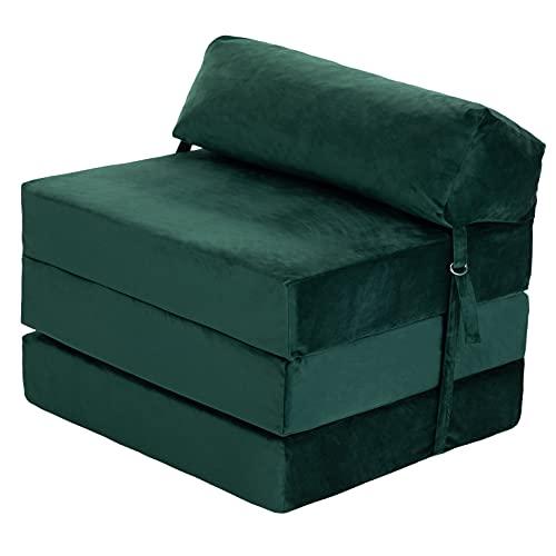 Loft 25 Adult Sofa Futon Z Bed | Soft Velvet Material | Single Fold Out Mattress Chairbed | Ergonomically Designed Zbed (Green, Velvet)