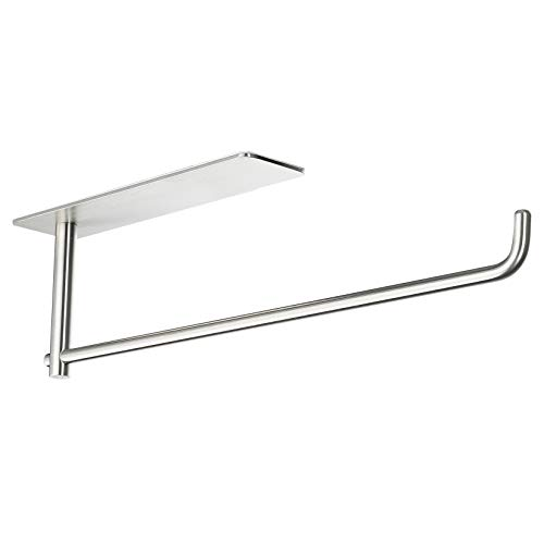 SUNTECH Paper Towel Holder Under Kitchen Cabinet  Self Adhesive Towel Paper Holder Stick on Wall SUS304 Stainless Steel