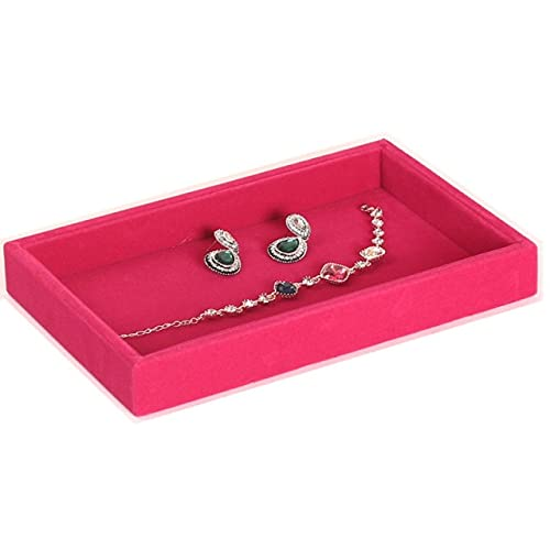Bandeja de almacenamiento de joyería de terciopelo pendientes pendientes anillo cuello pulsera trenzado organizador clip caja joyería bandeja exhibición 23x14.5cm-rosa