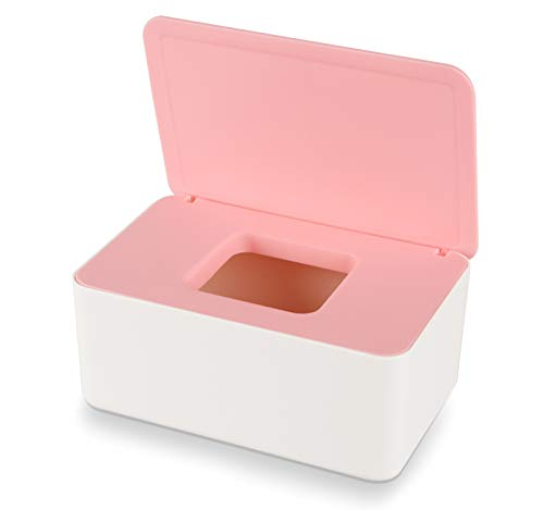Aoligei Feuchttücher Box, Baby Feuchttücherbox, Baby Tücherbox, Box Feuchtes Toilettenpapier, Kosmetiktücher Box, Kunststoff Feuchttücher Spender mit Deckel für Zuhause und Büro(Weiß-Rosa)