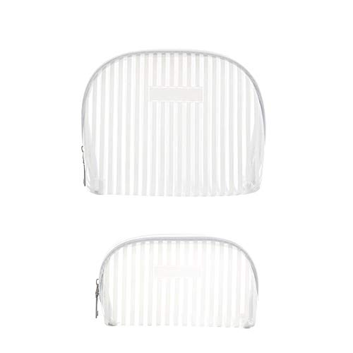 Xiton 2PCS Stripe Cosmetic Bag Waterproof Transparent Toiletry Bag PVC Vinyl Zippered Wash Bag Clear Makeup Pouch Handhold Coin Purse for Travel Or Home Use (L&S,White)
