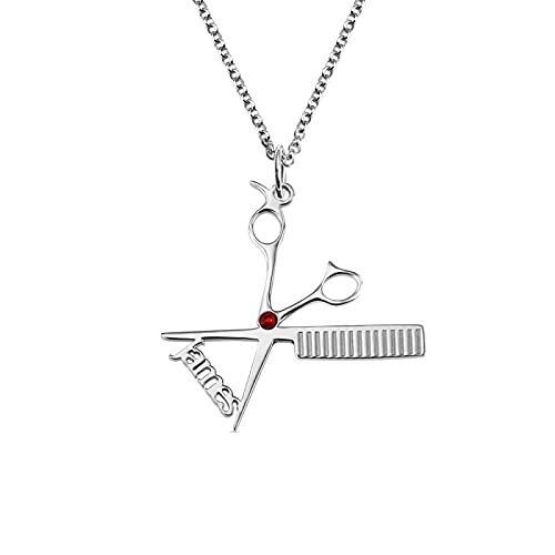 Collar de barbero YCHZX de plata de ley 925 con nombre de piedra de nacimiento, colgante de tijeras, para un buen amigo de peluqueros y estilistas