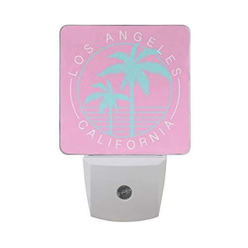 AOTISO Motif tropical Vintage Palm Tree Summer Design Letter Los Angeles California On Pink Auto Sensor Night Light Plug in Indoor