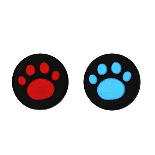 Silicone Thumb Grip Cap Cover Thumbstick Joystick for Sony PS3 PS4 PS2 Xbox One Xbox 360 Xbox One X S PS4 Pro Slim Cat Print (Red+Blue)