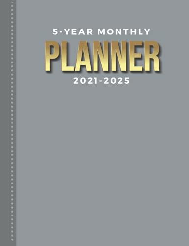 Planificador mensual de 5 años 2021 – 2025: calendario fechado de 8,5 x 11 cm con mes entero en dos páginas/gris, color liso, organizador con papel de notas, para diario de 60...