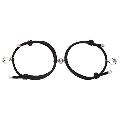 XIHUANNI 2 pulseras de amistad trenzadas, distancia magnética, atraen entre sí, joyas para amantes, regalos para novio y novia