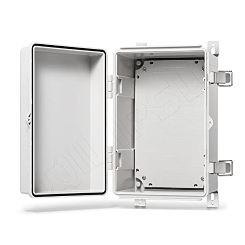 QILIPSU Hinged Cover Stainless Steel Latch 300x200x170mm Junction Box with Mounting Plate, Universal IP67 Project Box Waterproof DIY Electrical Enclosure, ABS Plastic Grey (11.8