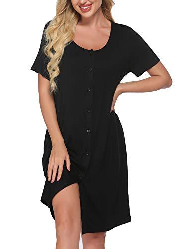 Meaneor Damen Nachthemd Schwangerschaft Pyjama Geburtskleid O-Ausschcnitt Nachtkleid Stillen Schlafshirt Kurzarm Weich Schlafanzüge Nachtwäsche Geburtshemd Schwarz XL